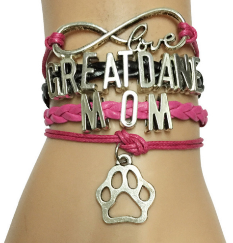 Great Dane Dog Mom Paw Bracelet -Homemade