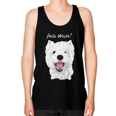 Hello Westie! (West Highland Terrier) Unisex Fine Jersey Tank Black Blue Moon Clouds