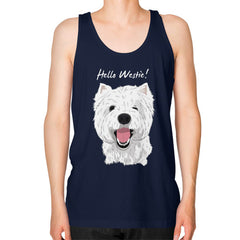 Hello Westie! (West Highland Terrier) Unisex Fine Jersey Tank Navy Blue Moon Clouds