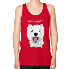 Hello Westie! (West Highland Terrier) Unisex Fine Jersey Tank Red Blue Moon Clouds