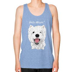 Hello Westie! (West Highland Terrier) Unisex Fine Jersey Tank Tri-Blend Blue Blue Moon Clouds