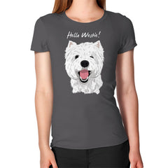 Hello Westie! (West Highland Terrier)  Women's T-Shirt Asphalt Blue Moon Clouds