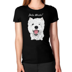 Hello Westie! (West Highland Terrier)  Women's T-Shirt Black Blue Moon Clouds