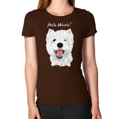 Hello Westie! (West Highland Terrier)  Women's T-Shirt Brown Blue Moon Clouds