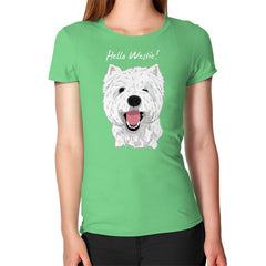 Hello Westie! (West Highland Terrier)  Women's T-Shirt Grass Blue Moon Clouds