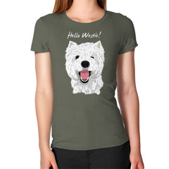 Hello Westie! (West Highland Terrier)  Women's T-Shirt Lieutenant Blue Moon Clouds