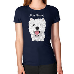 Hello Westie! (West Highland Terrier)  Women's T-Shirt Navy Blue Moon Clouds