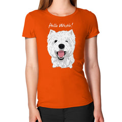 Hello Westie! (West Highland Terrier)  Women's T-Shirt Orange Blue Moon Clouds