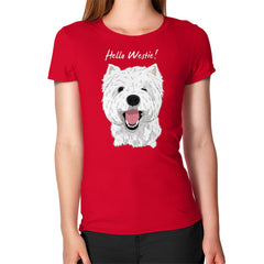 Hello Westie! (West Highland Terrier)  Women's T-Shirt Red Blue Moon Clouds