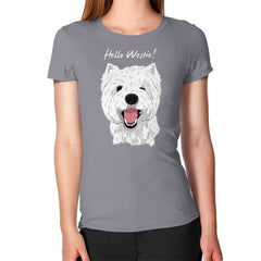 Hello Westie! (West Highland Terrier)  Women's T-Shirt Slate Blue Moon Clouds
