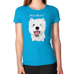 Hello Westie! (West Highland Terrier)  Women's T-Shirt Teal Blue Moon Clouds