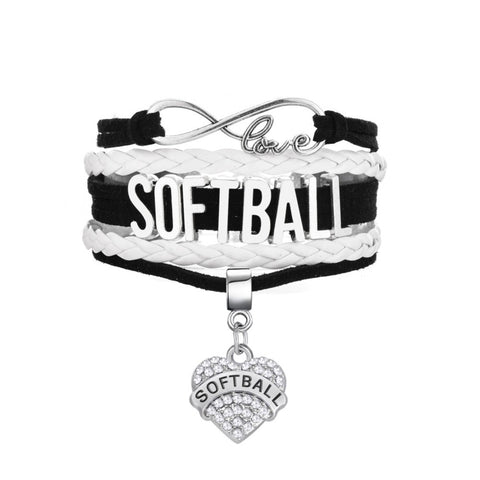 Softball Crystal Charm Bracelet