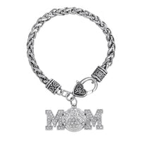 White Crystal Black Strip Softball Mom Bracelet