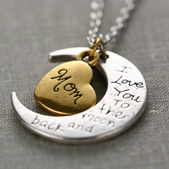 "Mom Moon Necklace "" I Love You To The Moon And Back """