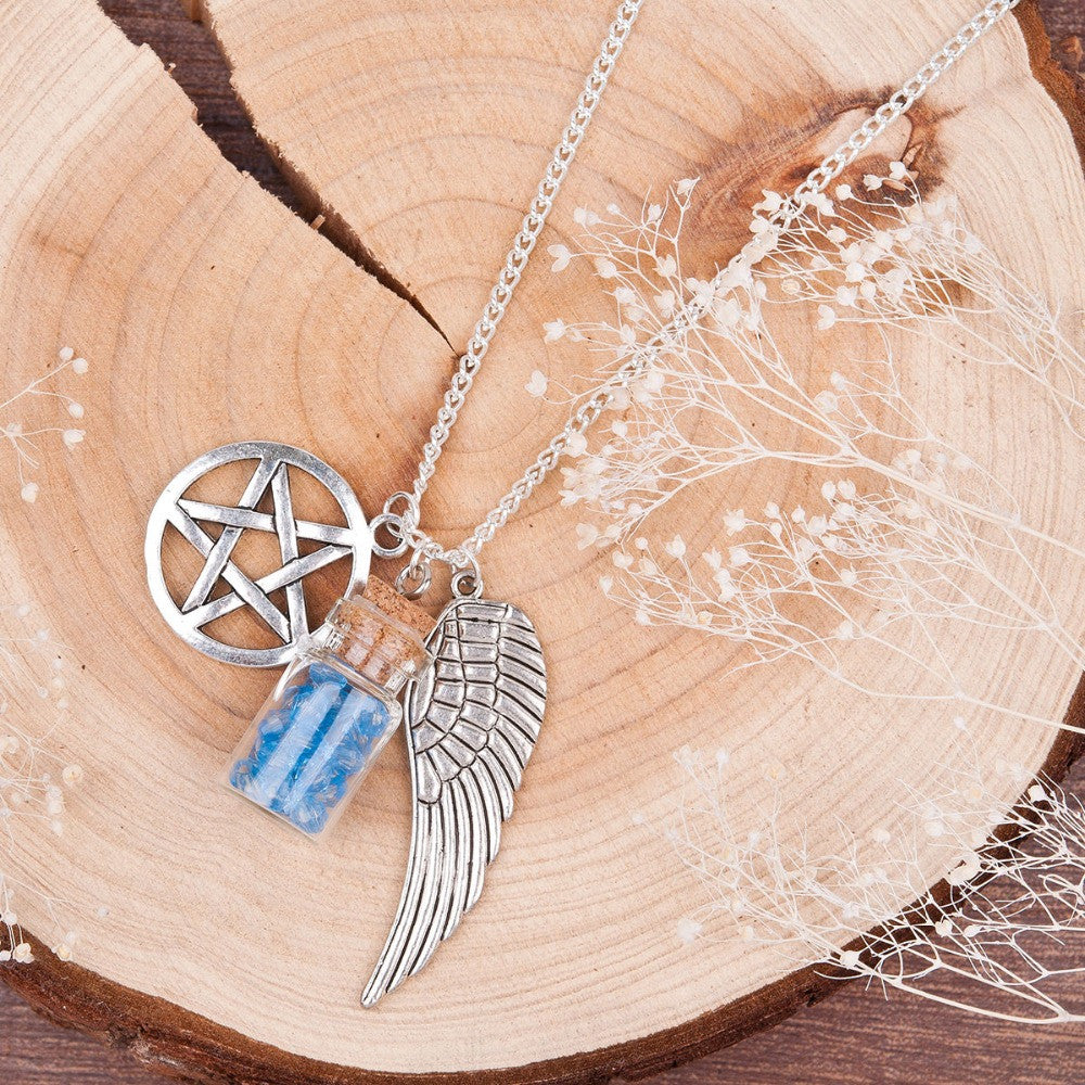 Handmade Supernatural Pentacle Angel Wings Wishing Bottle Silver Plated Necklace