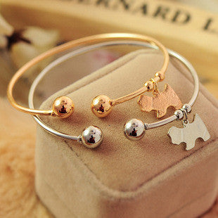 Cute Dog Charms Pendant Gold Silver Tone Cuff Open Bracelets