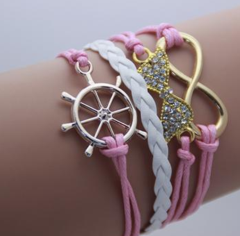 Double Infinity Multilayer Ribbon Anchor Bracelet -Handmade
