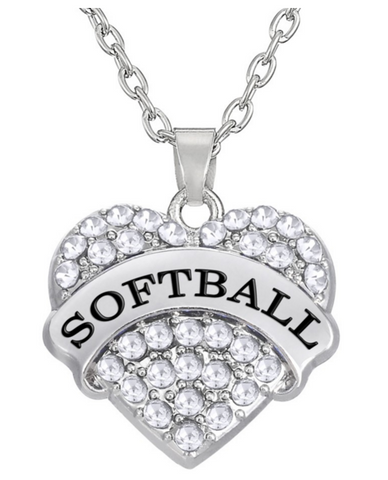 Softball Heart Shape Necklace