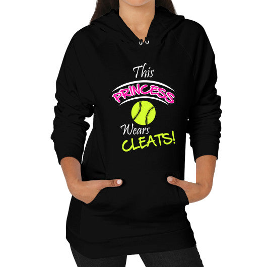 Softball - This Princess Wears Cleats! Hoodie Black Blue Moon Clouds