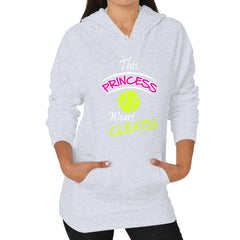 Softball - This Princess Wears Cleats! Hoodie Heather grey Blue Moon Clouds