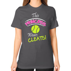 Softball- This Princess Wears Cleats!  Shirt Asphalt Blue Moon Clouds