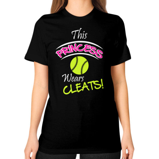 Softball- This Princess Wears Cleats!  Shirt Black Blue Moon Clouds