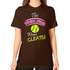 Softball- This Princess Wears Cleats!  Shirt Brown Blue Moon Clouds