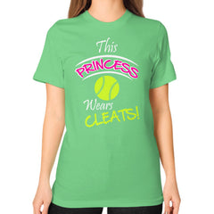 Softball- This Princess Wears Cleats!  Shirt Grass Blue Moon Clouds