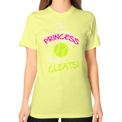 Softball- This Princess Wears Cleats!  Shirt Lemon Blue Moon Clouds