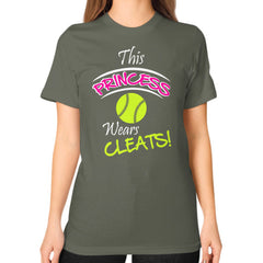 Softball- This Princess Wears Cleats!  Shirt Lieutenant Blue Moon Clouds