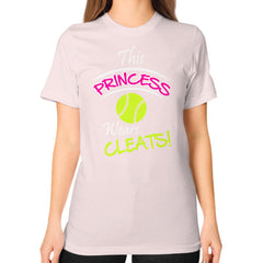 Softball- This Princess Wears Cleats!  Shirt Light pink Blue Moon Clouds