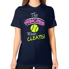 Softball- This Princess Wears Cleats!  Shirt Navy Blue Moon Clouds