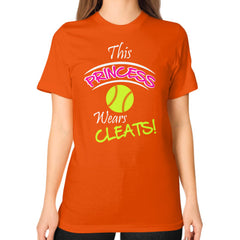 Softball- This Princess Wears Cleats!  Shirt Orange Blue Moon Clouds