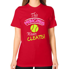 Softball- This Princess Wears Cleats!  Shirt Red Blue Moon Clouds
