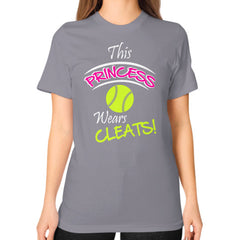 Softball- This Princess Wears Cleats!  Shirt Slate Blue Moon Clouds