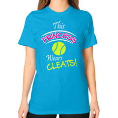 Softball- This Princess Wears Cleats!  Shirt Teal Blue Moon Clouds
