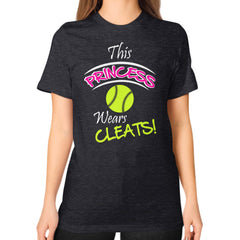 Softball- This Princess Wears Cleats!  Shirt Tri-Blend Black Blue Moon Clouds