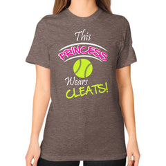 Softball- This Princess Wears Cleats!  Shirt Tri-Blend Coffee Blue Moon Clouds