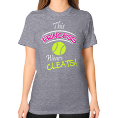 Softball- This Princess Wears Cleats!  Shirt Tri-Blend Grey Blue Moon Clouds