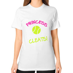 Softball- This Princess Wears Cleats!  Shirt White Blue Moon Clouds