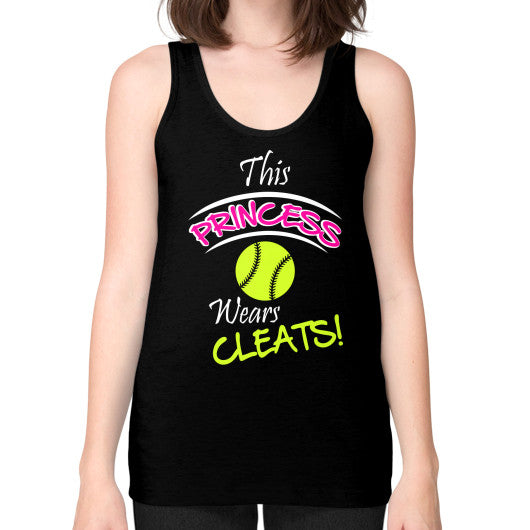 Softball- This Princess Wears Cleats! Tank Black Blue Moon Clouds