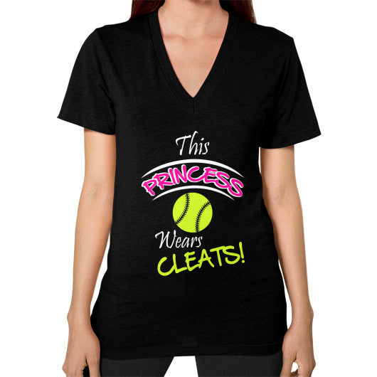 Softball- This Princess Wears Cleats! V-neck shirt Black Blue Moon Clouds