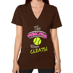 Softball- This Princess Wears Cleats! V-neck shirt Brown Blue Moon Clouds