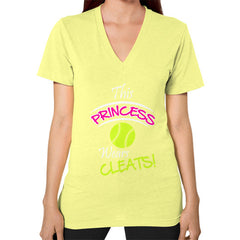 Softball- This Princess Wears Cleats! V-neck shirt Lemon Blue Moon Clouds