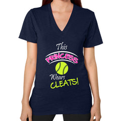 Softball- This Princess Wears Cleats! V-neck shirt Navy Blue Moon Clouds