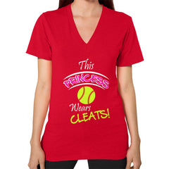 Softball- This Princess Wears Cleats! V-neck shirt Red Blue Moon Clouds