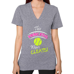 Softball- This Princess Wears Cleats! V-neck shirt Tri-Blend Grey Blue Moon Clouds