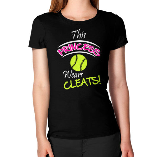 Softball- This Princess Wears Cleats! Women's T-Shirt Black Blue Moon Clouds