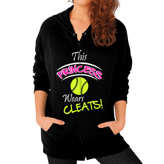 Softball - This Princess Wears Cleats! Zipper Hoodie Black Blue Moon Clouds