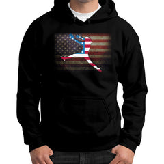 Softball - Vintage America - Gildan Hoodie Black Blue Moon Clouds